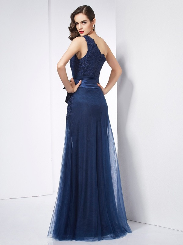 A-Linie/Princess-Linie One-Shoulder-Träger Ärmellos Applikationen Lange Netz Kleid