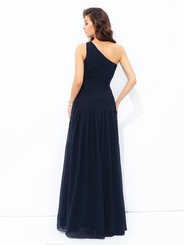 A-Linie/Princess-Linie One-Shoulder-Träger Applikationen Ärmellos Lange Chiffon Kleid