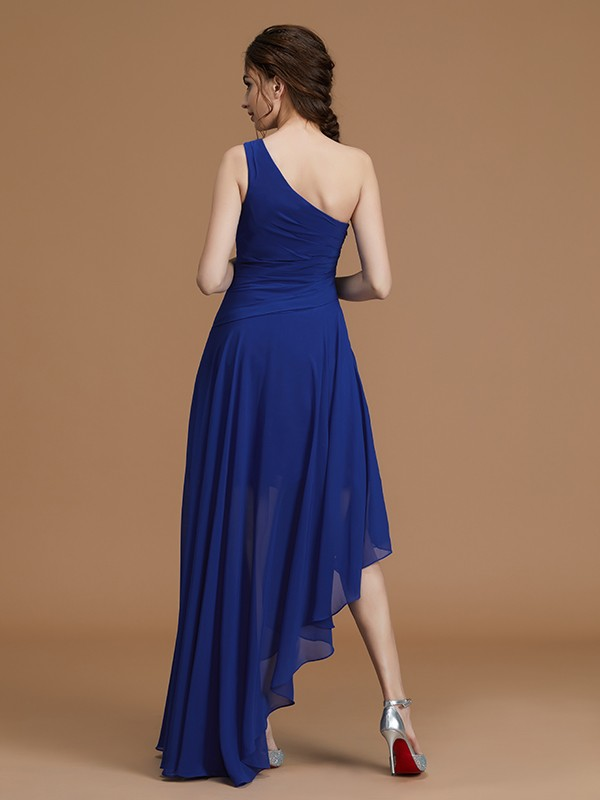 Fancy A-Linie One-Shoulder-Träger Ärmellos Asymmetrisch Chiffon Brautjungfernkleid