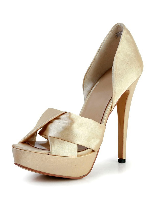 Damen Stiletto Hacke Silk Peep Toe Plattform Gold Brautschuhe