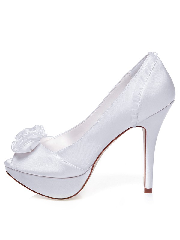 Damen Satin Peep Toe Stiletto Hacke Knots Brautschuhe
