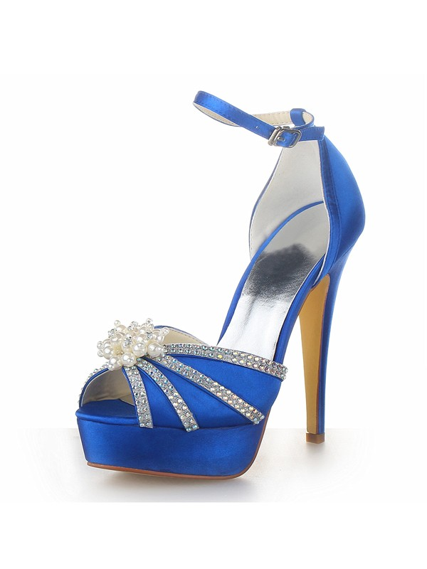 Damen Satin Stiletto Hacke Plattform Peep Toe mit Perlen Royal Blau Brautschuhe
